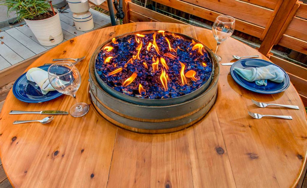 Wine Barrel Fire Pit Table with Crushed Fire Glass in Cobalt Blue