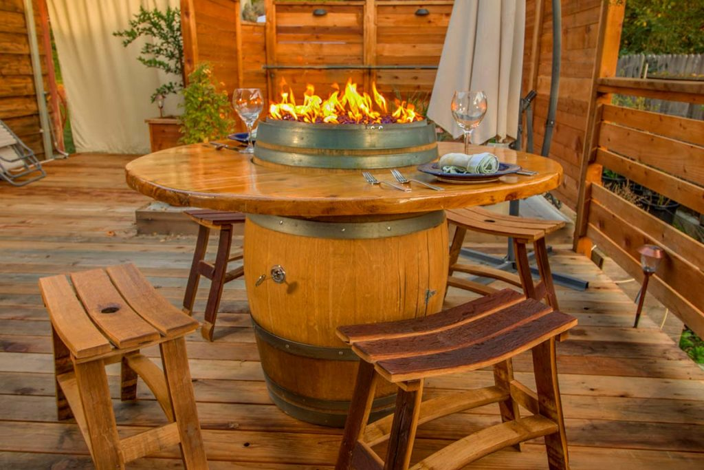Custom Wine Barrel Fire Pit - LP Gas