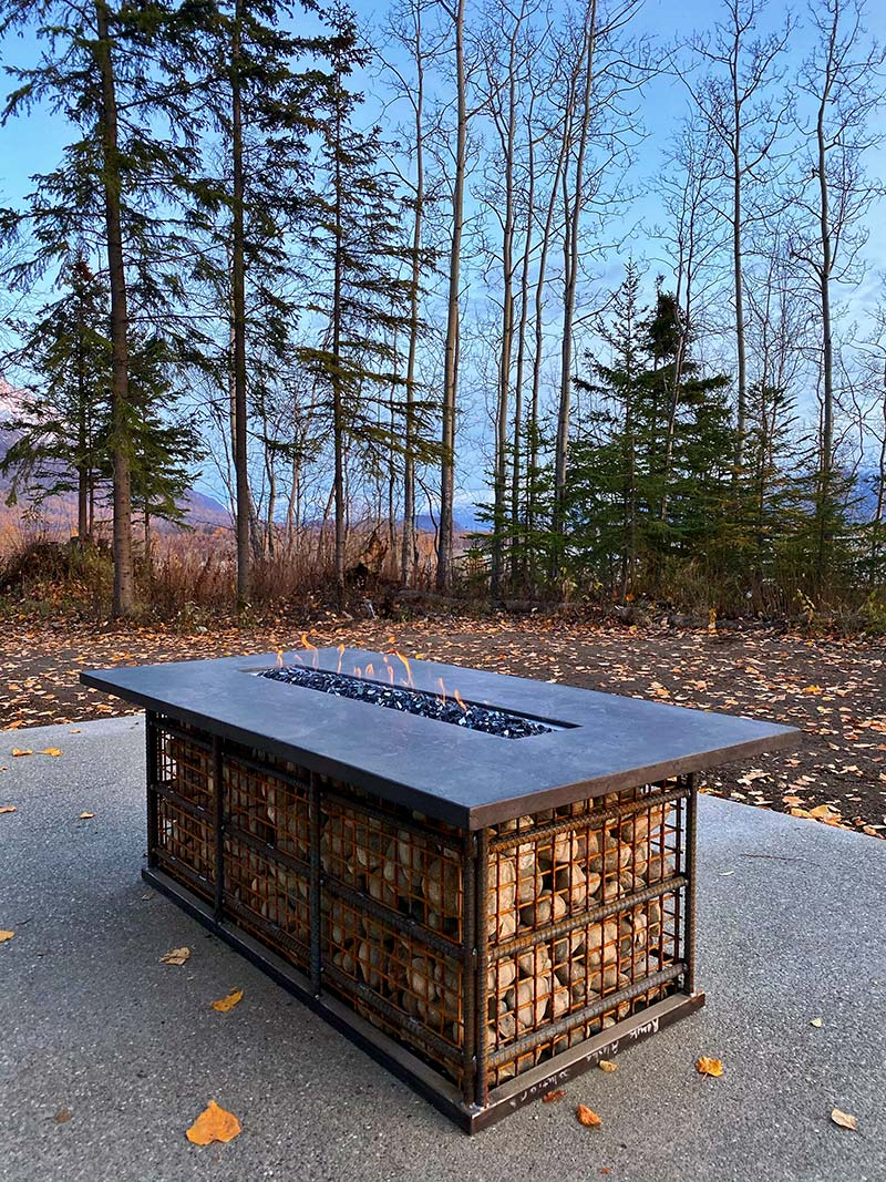 River Stone Fire Pit Table