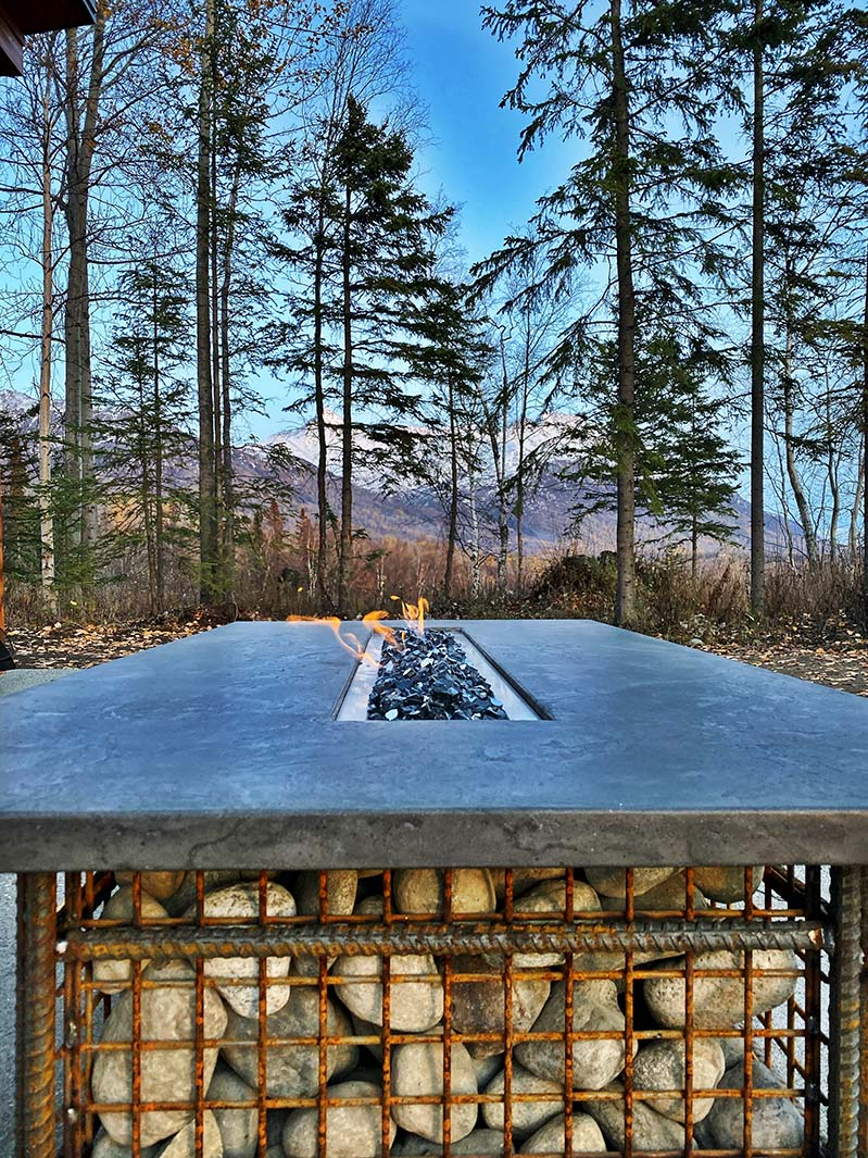 Custom River Stone Fire Pit Table