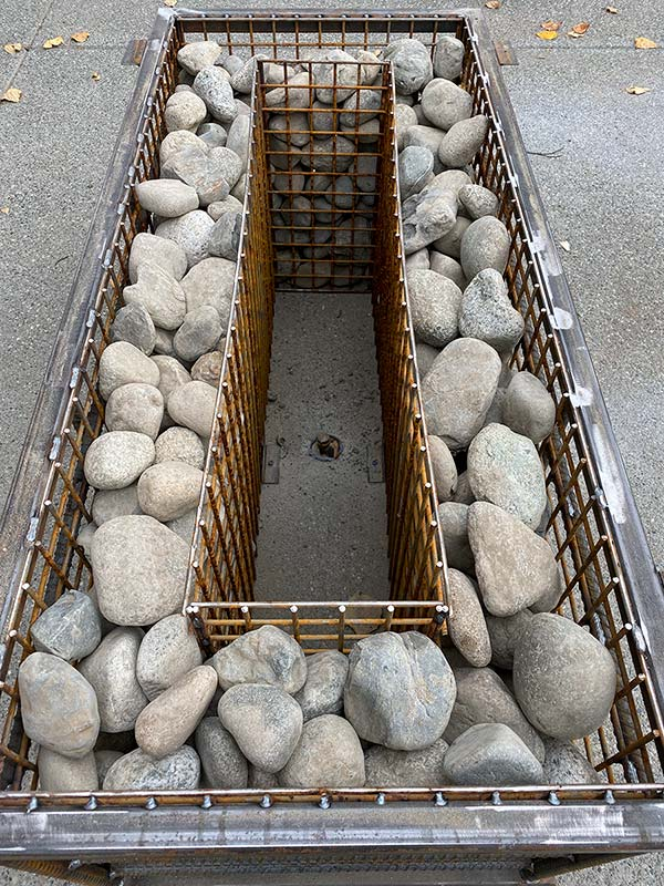 River Stone Fire Pit Table Interior Construction